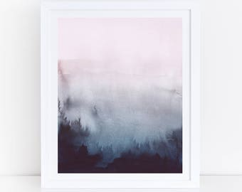 Pink Blue Abstract Art, Blue Pink Watercolor Print, Watercolor Printable Art, Abstract Watercolor Print, Pink Navy Print, Abstract Printable