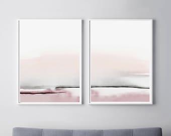 Bedroom Print Set, PRINTABLE Wall Art, Set Of 2 Prints, Abstract Wall Art,  Printable Abstract Art, Blush Pink And Gray Art, Bedroom Wall Art