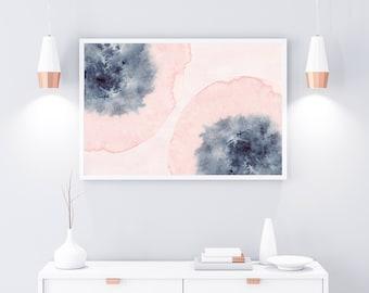 Horizontal Wall Art, Printable Art, Pink Blue Wall Art, Blush Pink Art, Watercolor Print, Watercolor Horizontal Art, Large Print, 24x36 Art