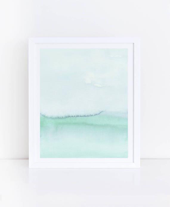Pastel Art Mint Green Wall Art Mint Green Art Watercolor Art Light Green Abstract Art Seafoam Green Pastel Abstract Art Printable Art