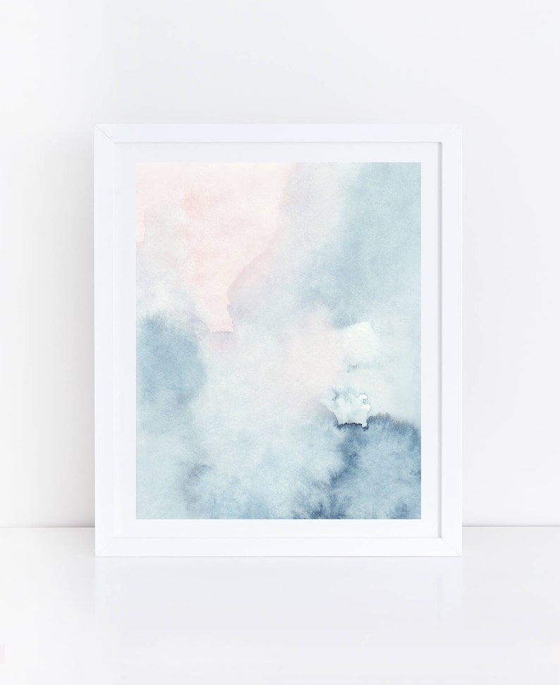 7cc072a547c08 Printable Abstract Art, Watercolor Wall Art, Sky Print, Blue Watercolor  Print, Blue Pink Abstract Art, Abstract Watercolor Art, Pastel Art