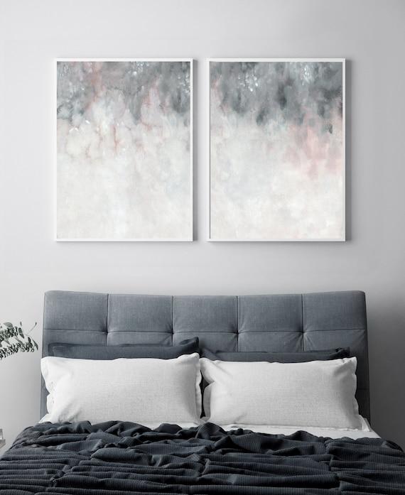 Parete grigio rosa arte stampabile, camera da letto stampa Set, Set di due  stampa, Blush rosa parete grigia stampa, Abstract Art, astrattismo ...