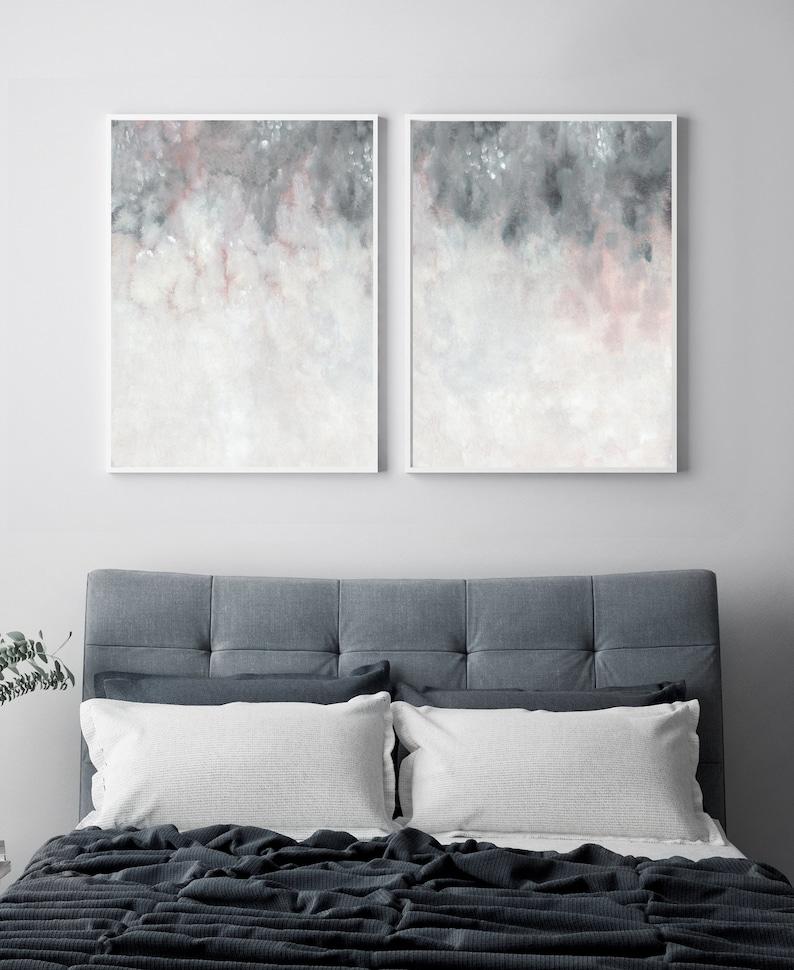 Parete grigio rosa arte stampabile camera da letto stampa | Etsy