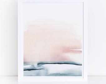 Blush Pink Print, Printable Bedroom Art, Watercolor Printable, Blush Pink and Blue, Abstract Art, Simple Print, Pink Wall Art, Art Print