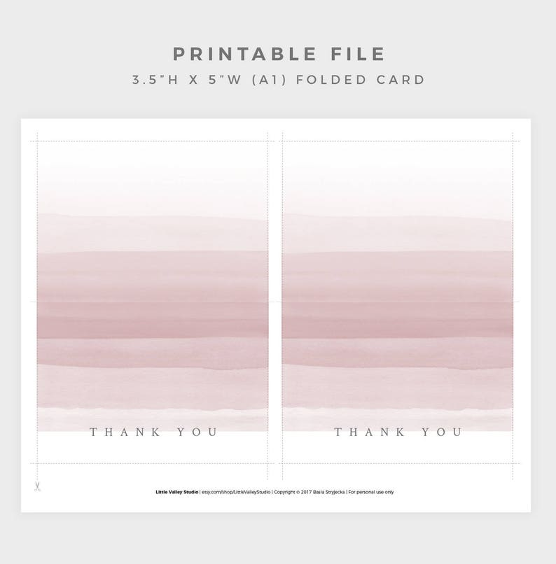 Blush Pink Thank You Card 3.5x5 Folded Thank You Card PRINTABLE Thank You Card DIY Thank You Card Digital Download A1 Thank you Card