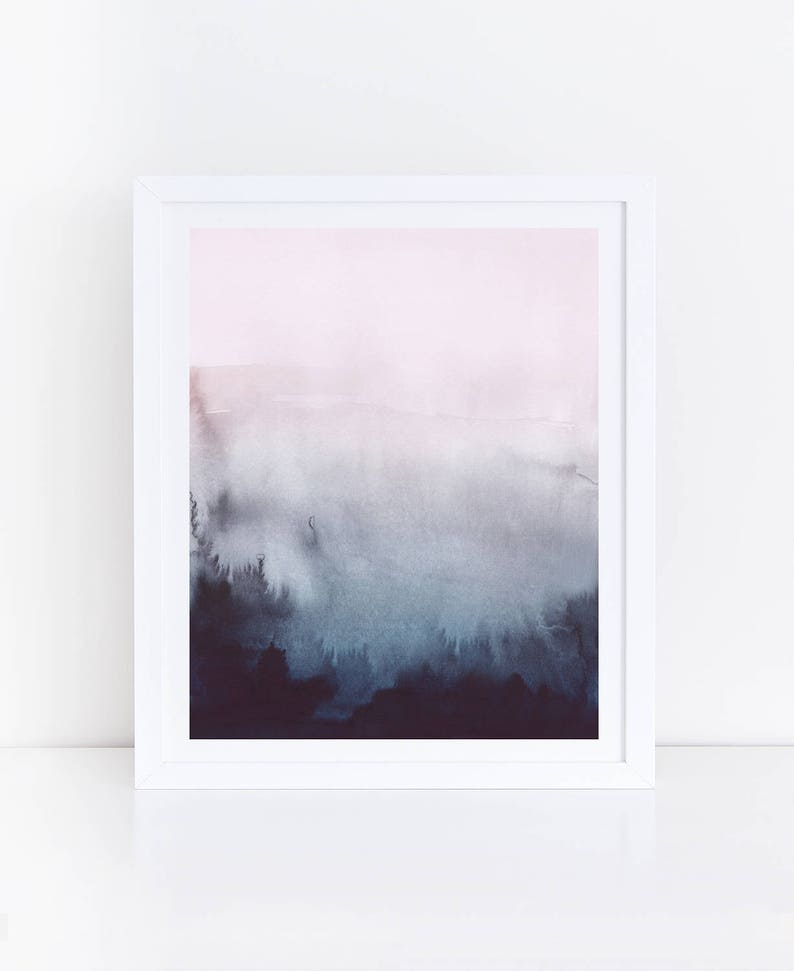 Pink Blue Abstract Art Blue Pink Watercolor Print Watercolor image 0