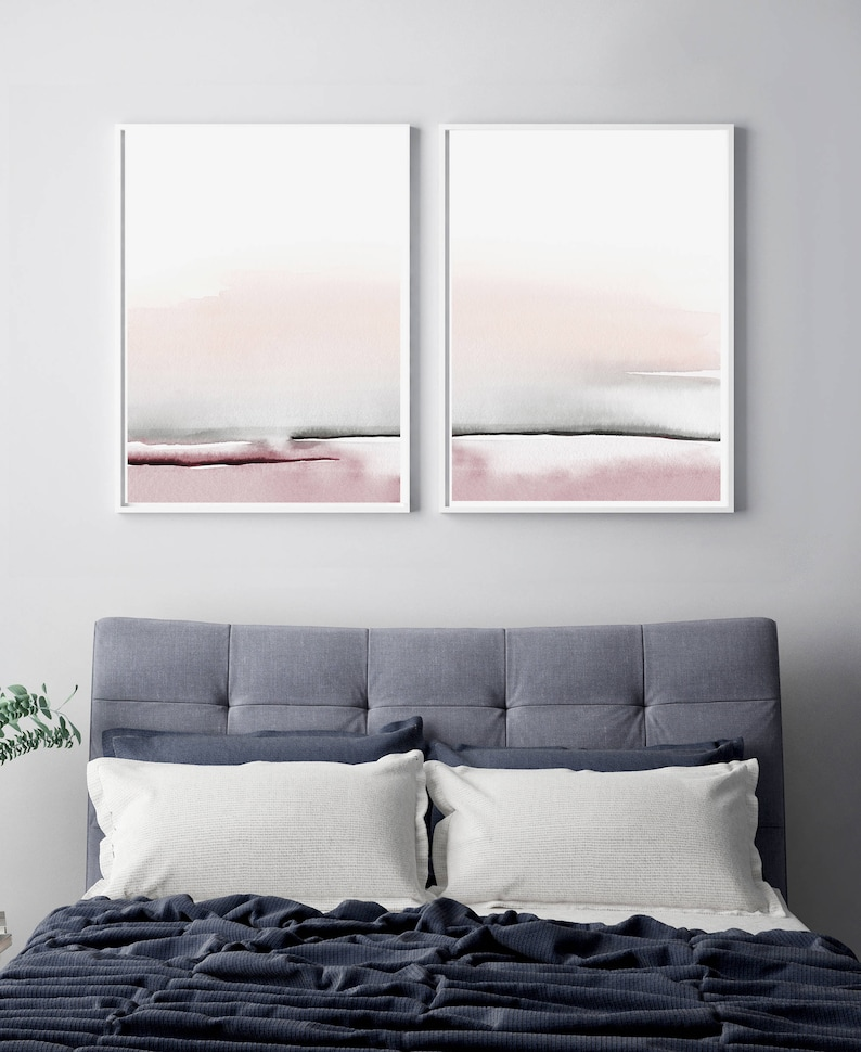 image about Etsy Printable Wall Art known as Bed room Print Established, PRINTABLE Wall Artwork, Established of 2 Prints, Summary Wall Artwork, Printable Summary Artwork, Blush Red and Grey Artwork, Bed room Wall Artwork