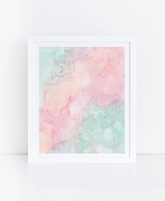 Pastell Aquarell Druck Pastell Drucke Mintgrün Und Rosa Wand   Etsy