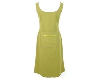 MIU MIU 1999 A w Fanny Pack Wool Green Sleeveless Dress fc0469c9b645a