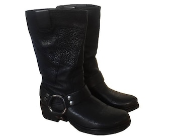 2fe41a03108f MIU MIU Harness Black Boots Motorcycle Leather Patchwork Round Toe