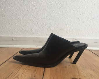 3e315f2284a9d4 SOLD ANN DEMEULEMEESTER Knife Pointy Western Black Leather Oblique Heels  Mules