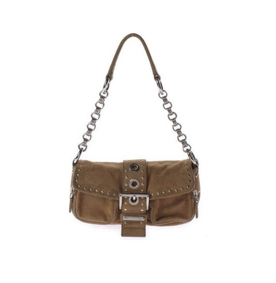 a0c4702ae930 PRADA Suede Studded Baguette Grommet Bag with O-ring Silver