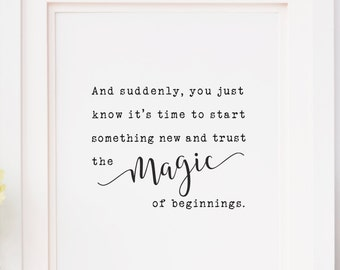 Magic of Beginnings Quote, Meister Eckhart, Downloadable Prints, Wall Prints, Printable Art, Inspirational Quotes, Quotes