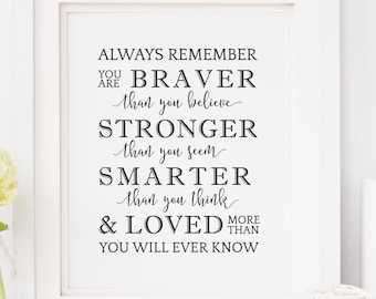 Always Remember You Are Braver, Winnie the Pooh, Nursery Wall Art, Baby Quotes, Nursery Prints, Printable Wall Art, Quotes