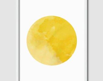 Printable Art, Circle Print, Abstract Yellow Print, Yellow Watercolor, Abstract Art, Downloadable Prints, Geometric Art, Wall Decor