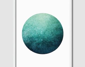 Wall Art, Circle Print, Abstract Green Print, Abstract Art, Downloadable Prints, Geometric Art, Minimalist Print, Wall Decor