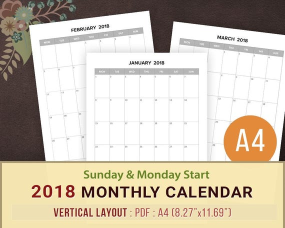 Monthly Calendar 2018 Printable Blank Monthly Planner Sunday Etsy