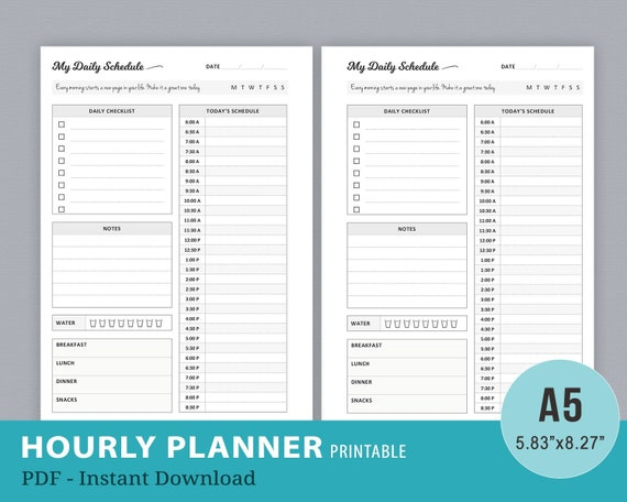 image about Hourly Planner Printable referred to as Hourly Planner Inserts, Timed Planner Printable, Every day Plan, Working day Organizer, Hourly Working day System, Filofax A5 Inserts, PDF Quick Obtain