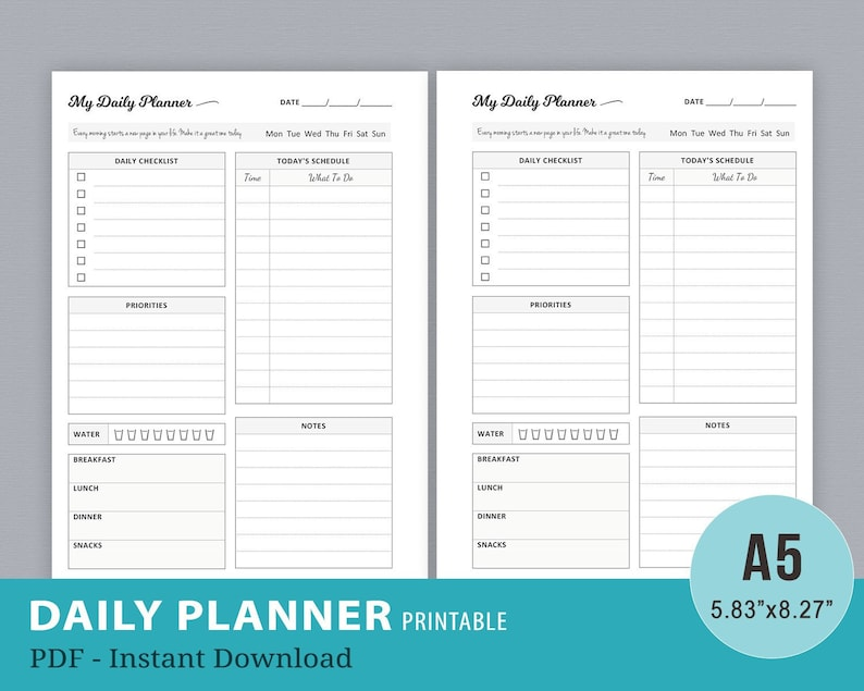 graphic about Printable Daily to Do List identify Day by day Planner Printable, Every day In direction of Do Listing, Working day Planner, Kikki K High Particular person Planner Internet pages, Filofax A5 Planner Inserts, Instantaneous Down load