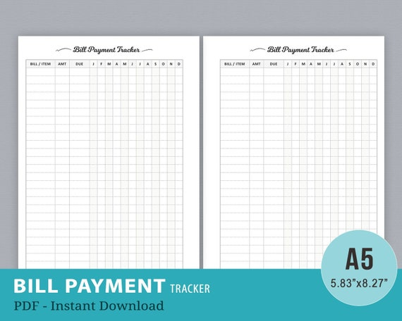graphic about Monthly Bill Tracker Printable named Invoice Rate Tracker Record, Every month Invoice Tracker Printable, Monthly bill Organizer, Invoice Owing Planner, Spending plan Planner, A5 Planner Inserts
