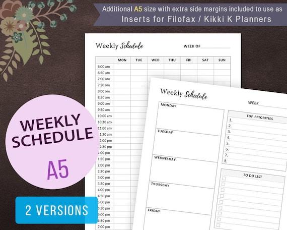 weekly schedule weekly planner printable work planner etsy