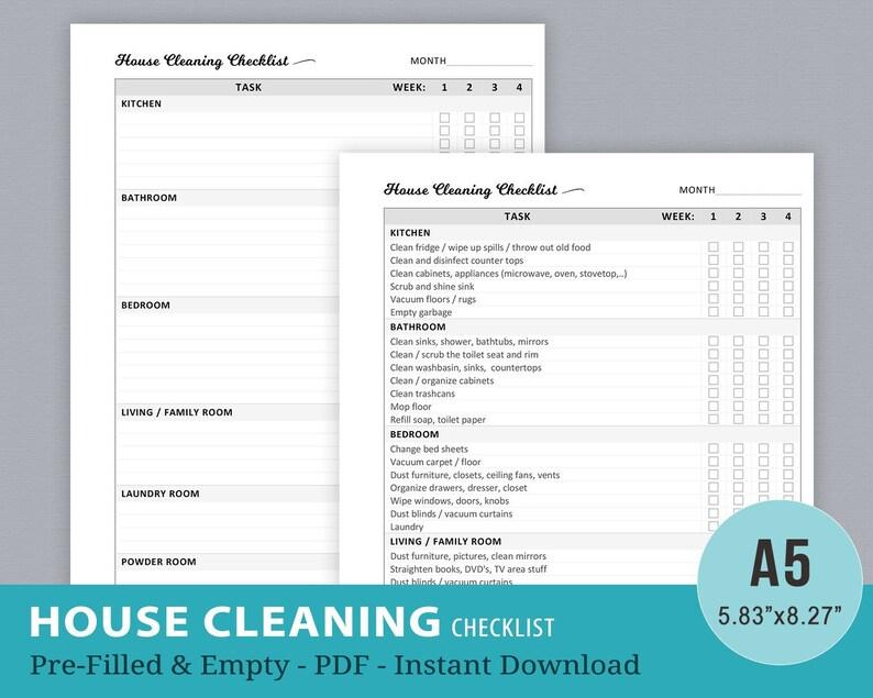 Favorit Haus Aufgaben Checkliste Reinigung Reinigung Hausreinigung   Etsy PH62
