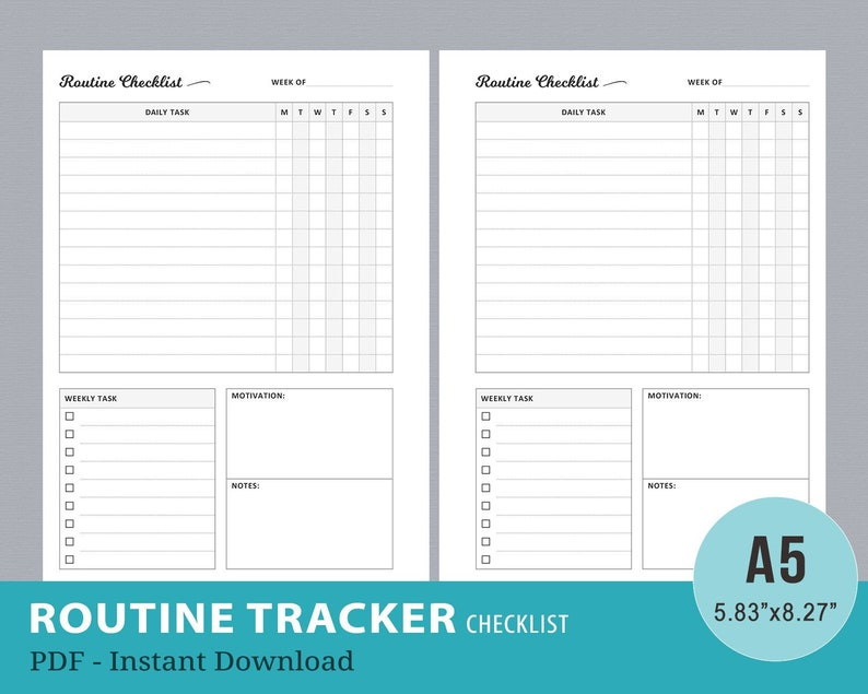 graphic about Morning Routine Checklist Printable named Each day Schedule Listing Printable, Early morning Agenda Chart, Weekly Chores, Working day, Evening, Bedtime, Routine Tracker, A5 Planner Webpages, Electronic PDF
