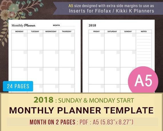 2018 monatliche Kalender Vorlage monatlicher Kalender | Etsy