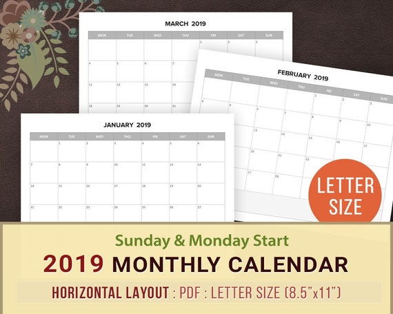 2019 Monthly Calendar Printable Blank Monthly Planner Sunday Etsy