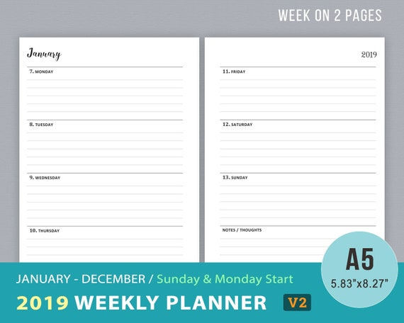 2019 Weekly Planner Printable, WO2P, Dated Weekly Goals Agenda, Week on 2  Pages, Filofax A5 Planner Inserts, Daily Planner, Instant Download