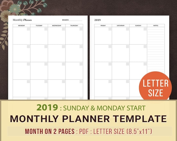 2019 Monthly Planner Template Printable Planner Inserts Etsy