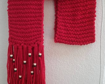 Red handmade long scarf with fringe