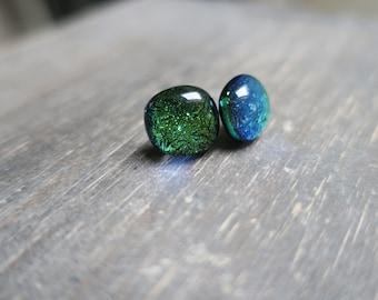 Green/ blue dichroic glass earrings