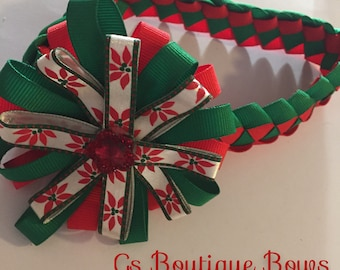 Red and green braided headband