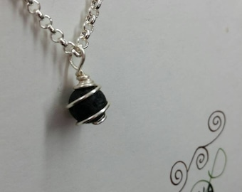 Wire Wrapped Lava Necklace for essential oils