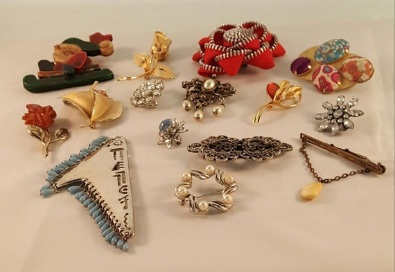 Brooch Lot Assorted Vintage Brooches Jewelry Lot V