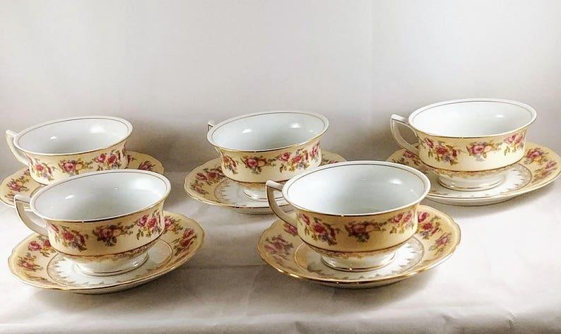 Gold Castle Teacup Saucer Sets,Vintage Fine China Floral Teacup Saucer Sets