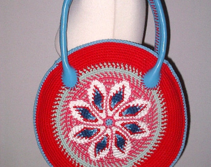 Summer bag tapestry crochet Handmade Leather art Häkel-40 cm