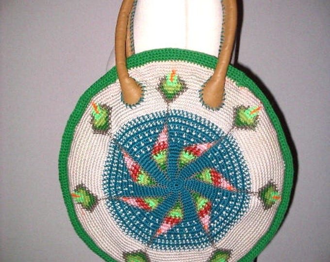 Summer bag handmade tapestry crochet leather Häkel-Art 38 cm