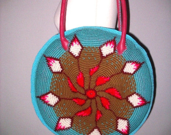 Summer bag handmade tapestry crochet leather Häkel-art 45 cm