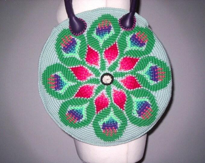 Summer bag tapestry crochet Handmade Leather art Häkel-40 cm
