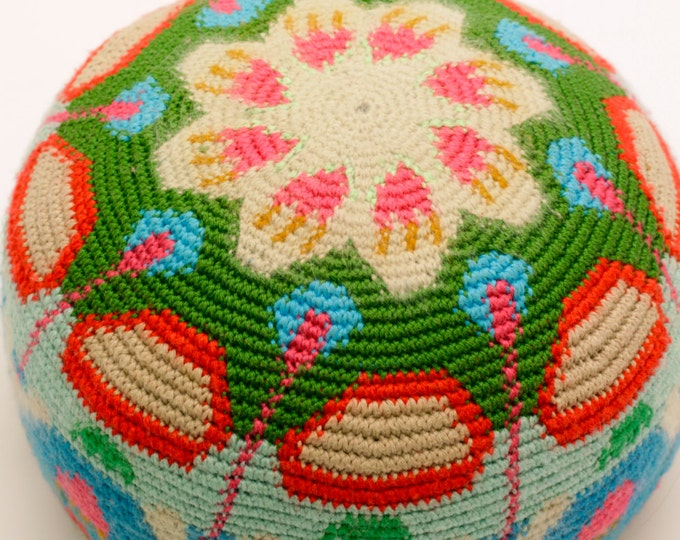 Yoga meditation cushion floor pillow cushion cushion Pouffe leather floor Häkel-art handmade tapestry crochet 28 cm