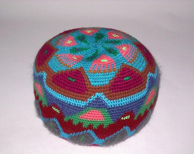 Yoga meditation cushion floor pillow cushion cushion Pouffe leather floor Häkel-art handmade tapestry crochet 28 cm