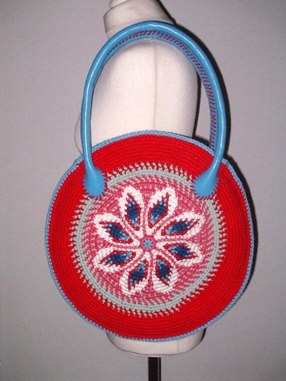 Zomer Tas Tapestry Haken Handgemaakte Lederen Kunst Häkel 40 Etsy