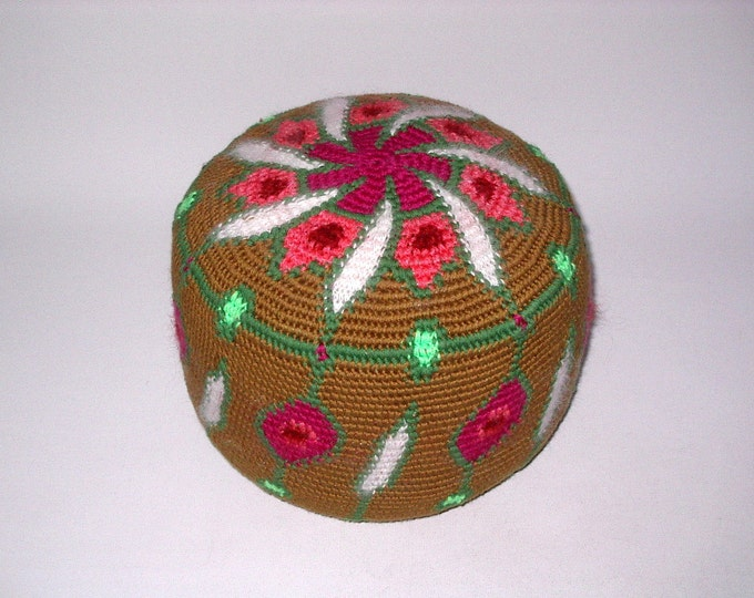 Yoga Cushion Meditation Cushion Floor- Seat Cushion cushion Pouf Handmade Tapestry Crochet Leather- Floor Crochet- Art 28 cm