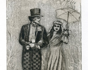 Etching/original Mad Hatter's wedding / marriage of the Mad Hatter/Alice's Adventures in Wonderland/adventures of Alice in Wonderland of