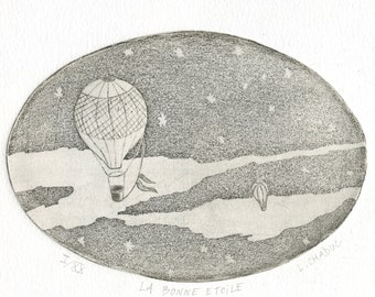 "Original etching ""Lucky star"", numbered and signed by MinibrandAtelier."