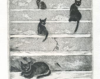 "Original engraving ""Night""-""Night"" \Cats\cat\eau-forte\estampe\Black Cat\gravure cat\printmaking\ original hand drawn black & white printed \art"