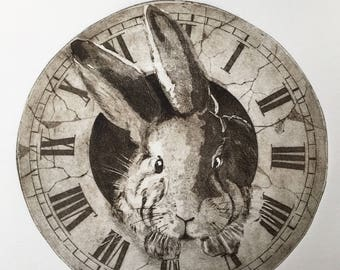 Engraving original /Suivez the White Rabbit/Follow the white rabbit/Alice's Adventures in Wonderland / Alice's adventures in the Wonderland