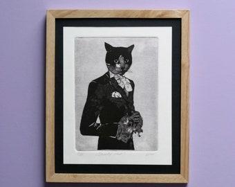 """Original engraving """"Dandy cat"""""""